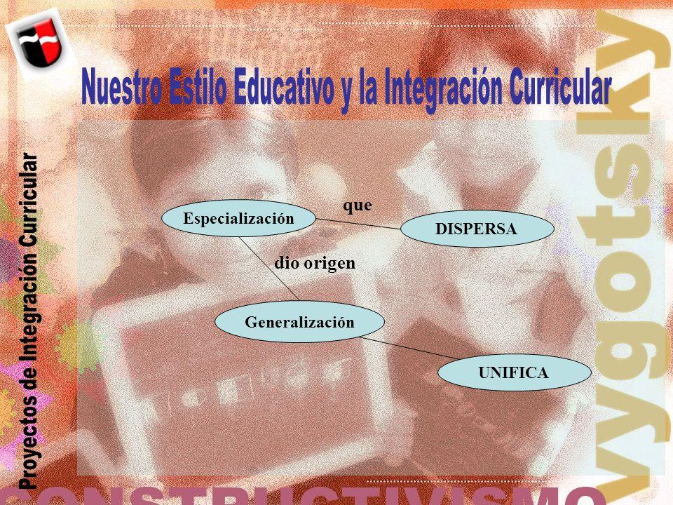 Nuestro Estilo Educativo y la Integración Curricular
