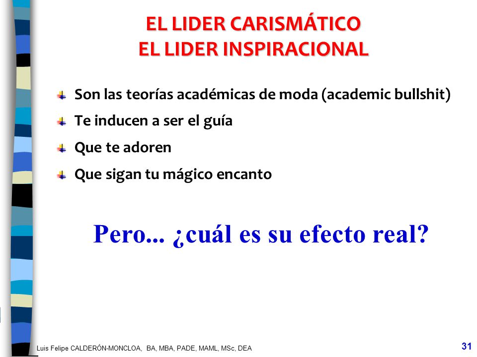 EL LIDER CARISMÁTICO EL LIDER INSPIRACIONAL