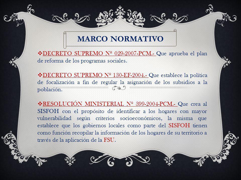 MARCO NORMATIVO DECRETO SUPREMO Nº 029-2007-PCM.- Que aprueba el plan de reforma de los programas sociales.
