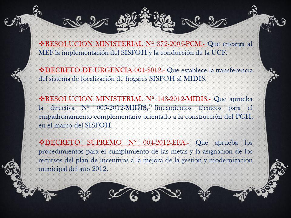 RESOLUCIÓN MINISTERIAL Nº 372-2005-PCM