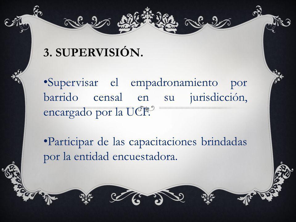 3. SUPERVISIÓN. Supervisar el empadronamiento por barrido censal en su jurisdicción, encargado por la UCF.
