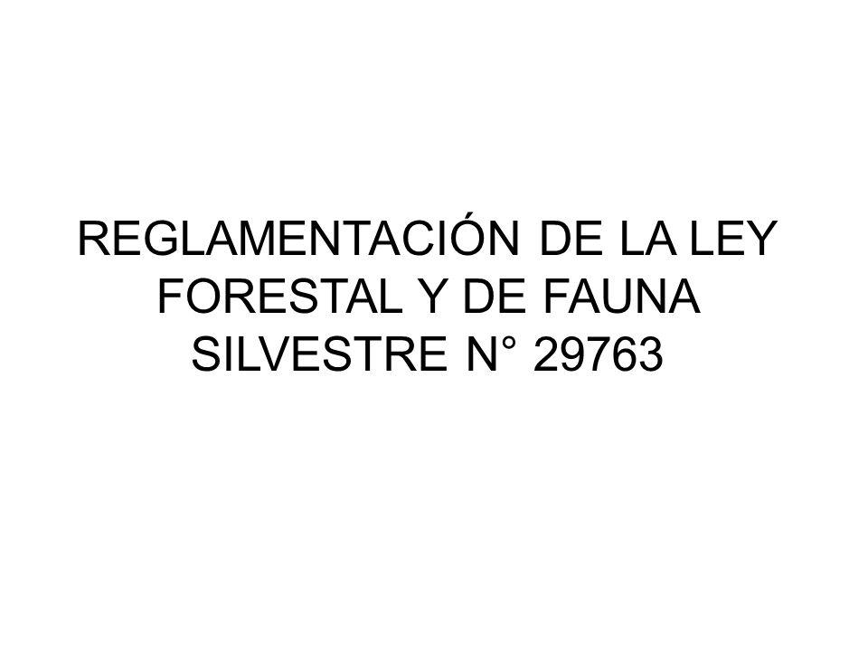 REGLAMENTACIÓN DE LA LEY FORESTAL Y DE FAUNA SILVESTRE N° 29763