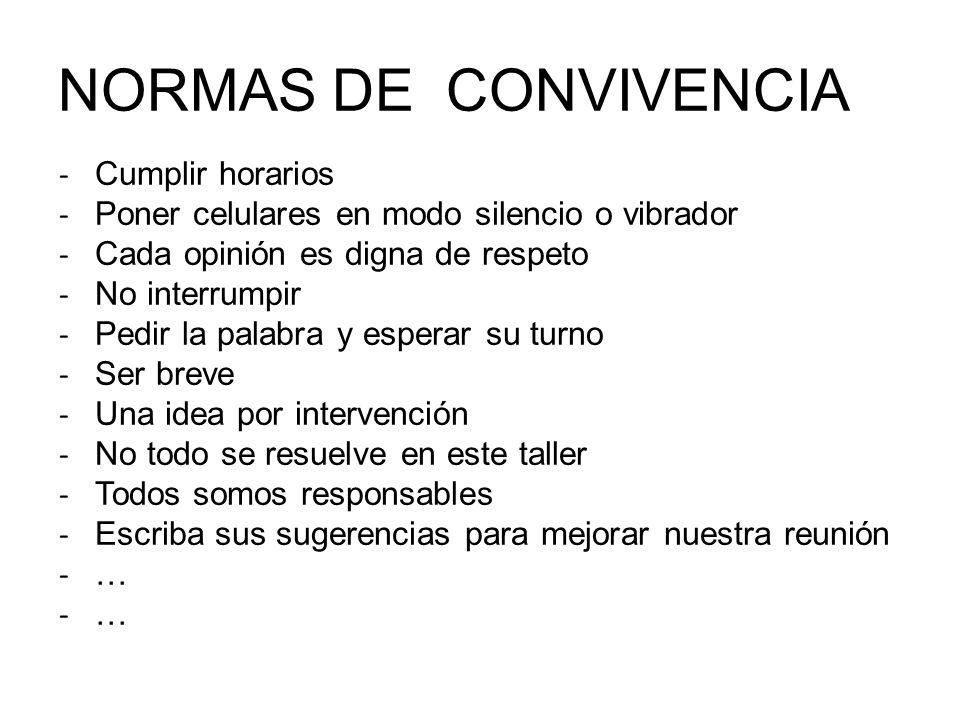NORMAS DE CONVIVENCIA Cumplir horarios