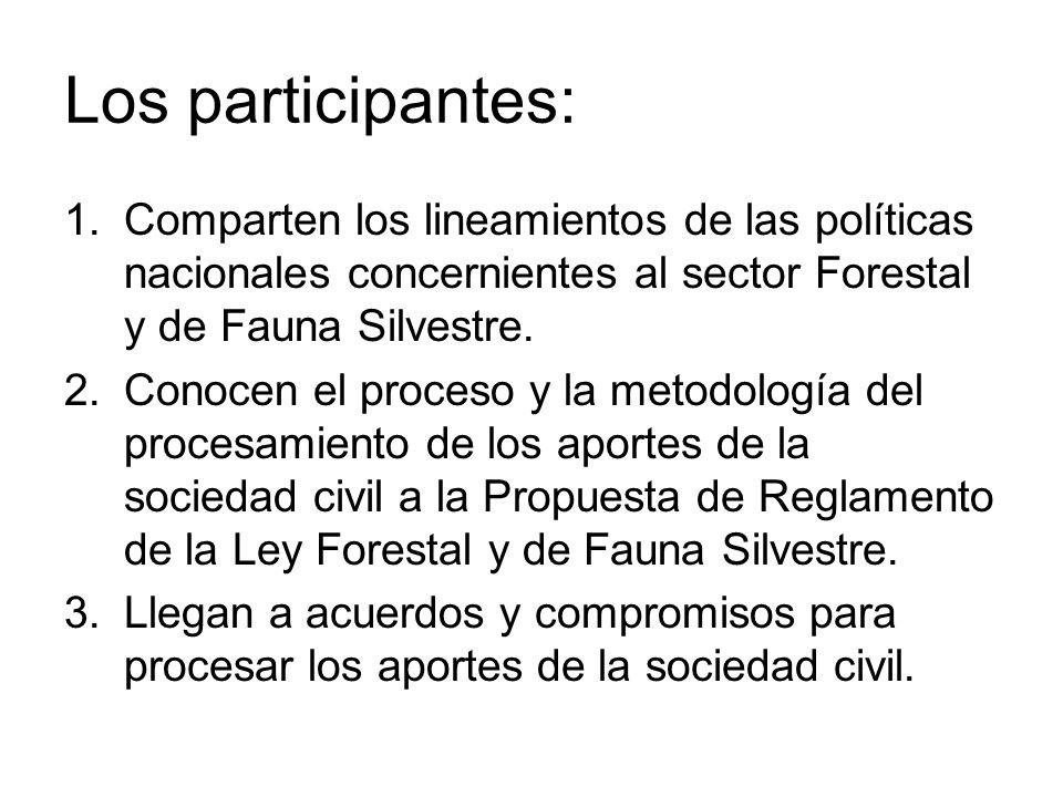 Los participantes: Comparten los lineamientos de las políticas nacionales concernientes al sector Forestal y de Fauna Silvestre.