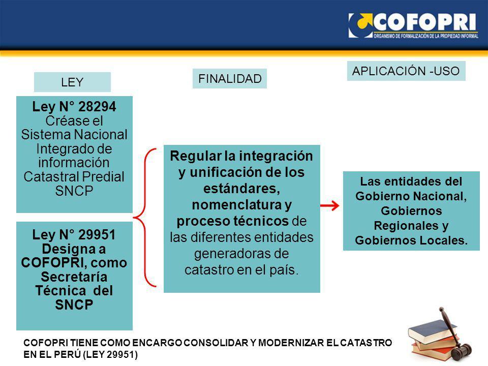 Ley N° 29951 Designa a COFOPRI, como Secretaría Técnica del SNCP