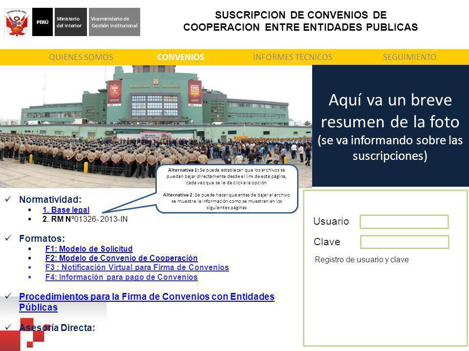 SUSCRIPCION DE CONVENIOS DE COOPERACION ENTRE ENTIDADES PUBLICAS