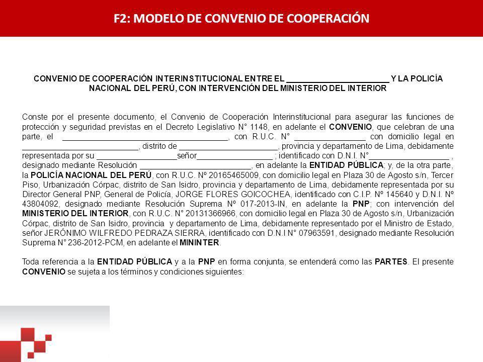 F2: MODELO DE CONVENIO DE COOPERACIÓN