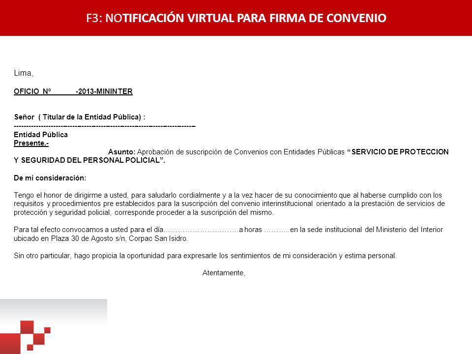 F3: NOTIFICACIÓN VIRTUAL PARA FIRMA DE CONVENIO
