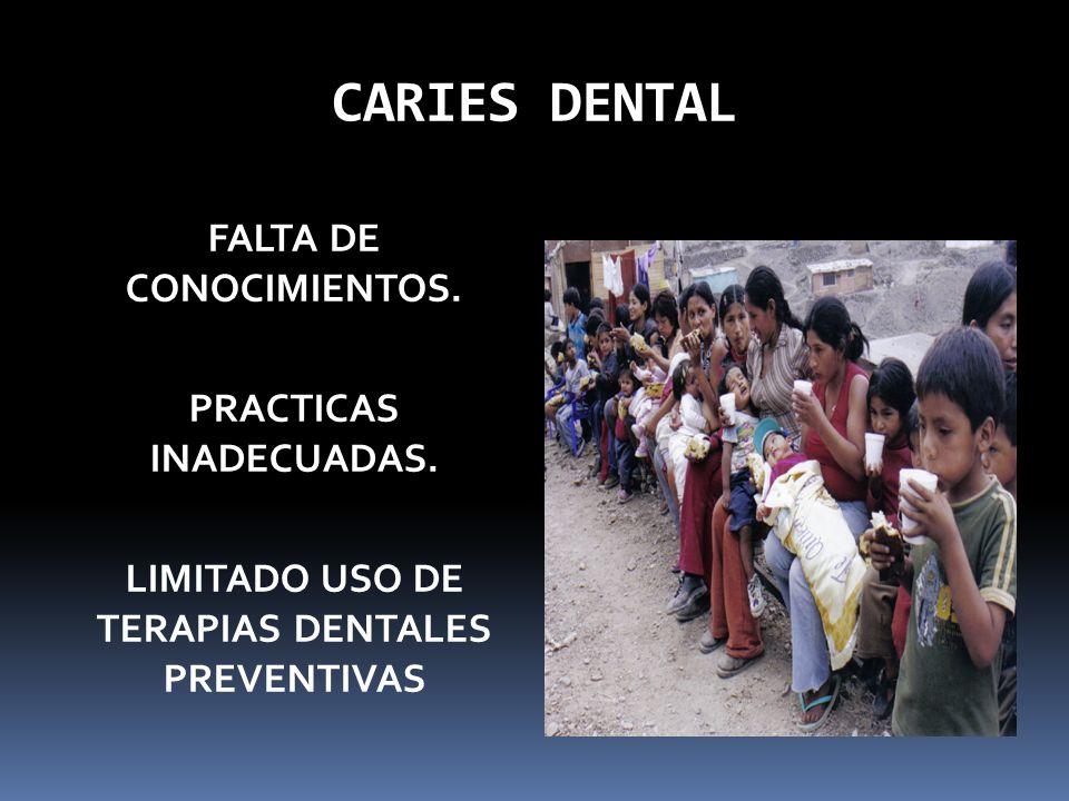 CARIES DENTAL FALTA DE CONOCIMIENTOS. PRACTICAS INADECUADAS.