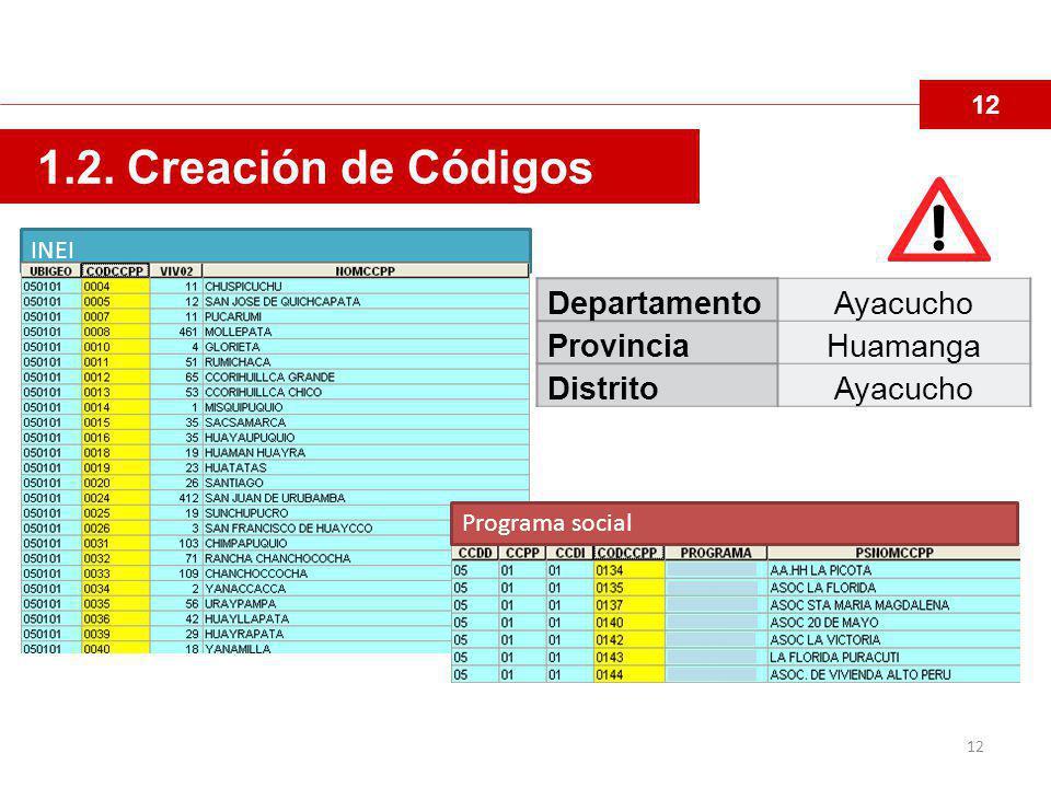 1.2. Creación de Códigos Departamento Ayacucho Provincia Huamanga