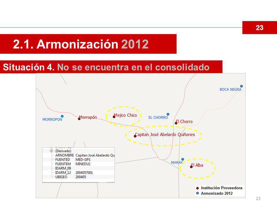 2.1. Armonización 2012 Situación 4. No se encuentra en el consolidado