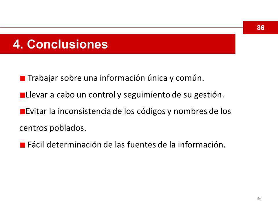 4. Conclusiones Trabajar sobre una información única y común.