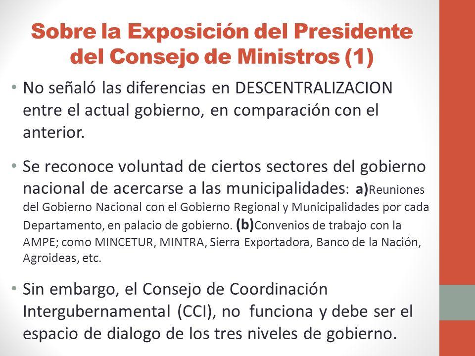 Sobre la Exposición del Presidente del Consejo de Ministros (1)
