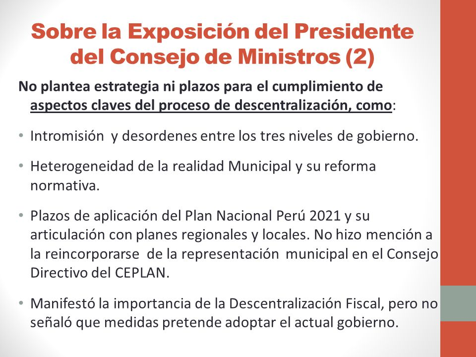 Sobre la Exposición del Presidente del Consejo de Ministros (2)