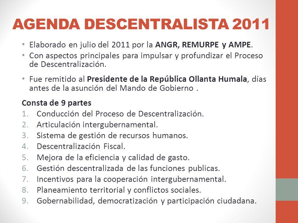 AGENDA DESCENTRALISTA 2011