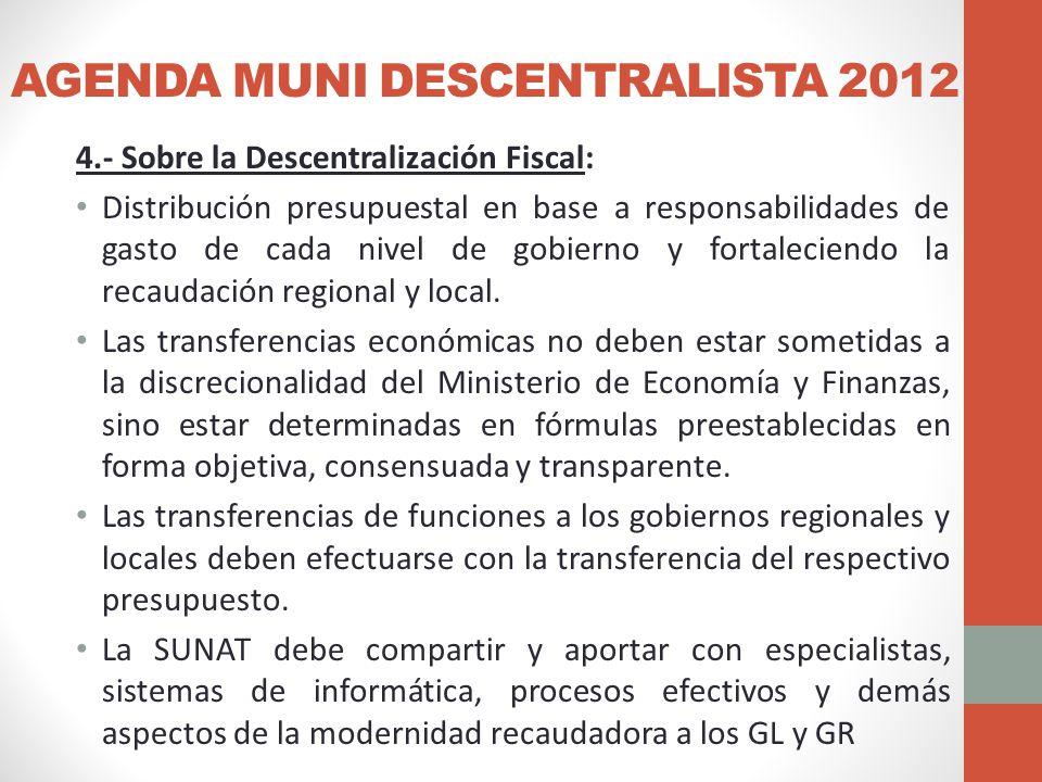 AGENDA MUNI DESCENTRALISTA 2012