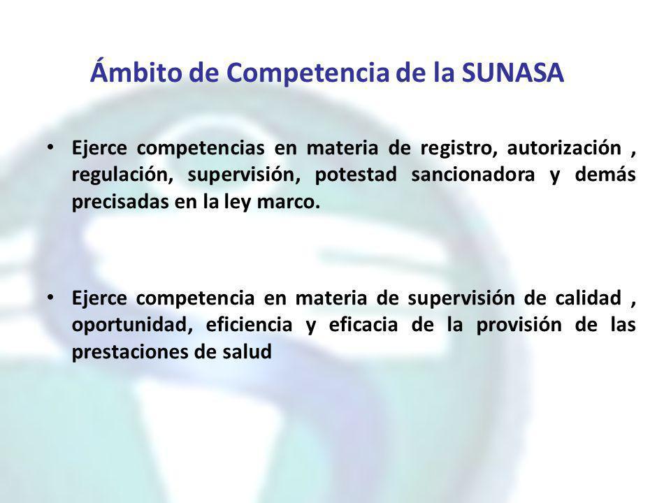 Ámbito de Competencia de la SUNASA