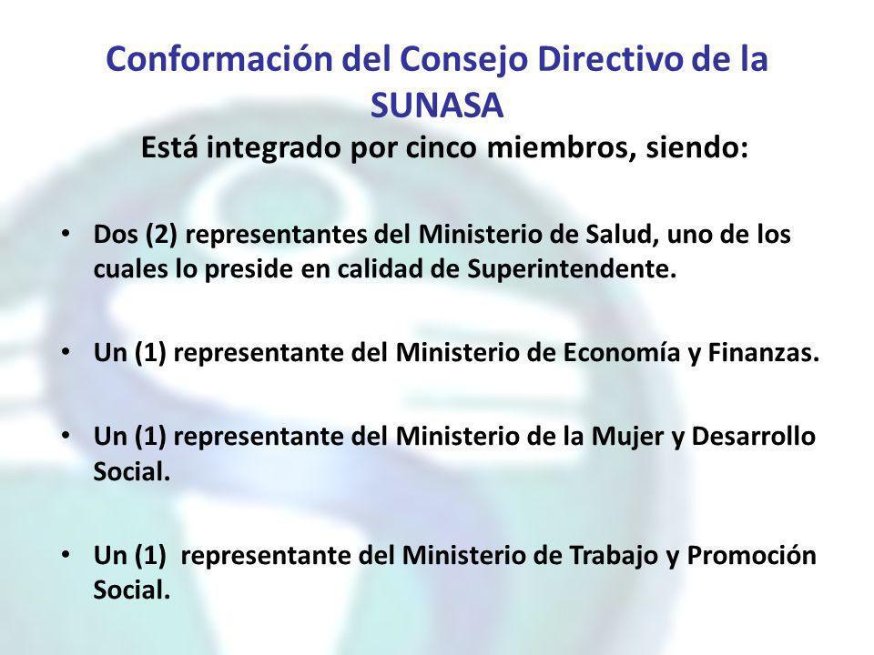 Conformación del Consejo Directivo de la SUNASA