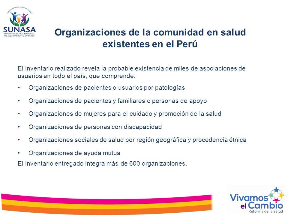 Organizaciones de la comunidad en salud existentes en el Perú