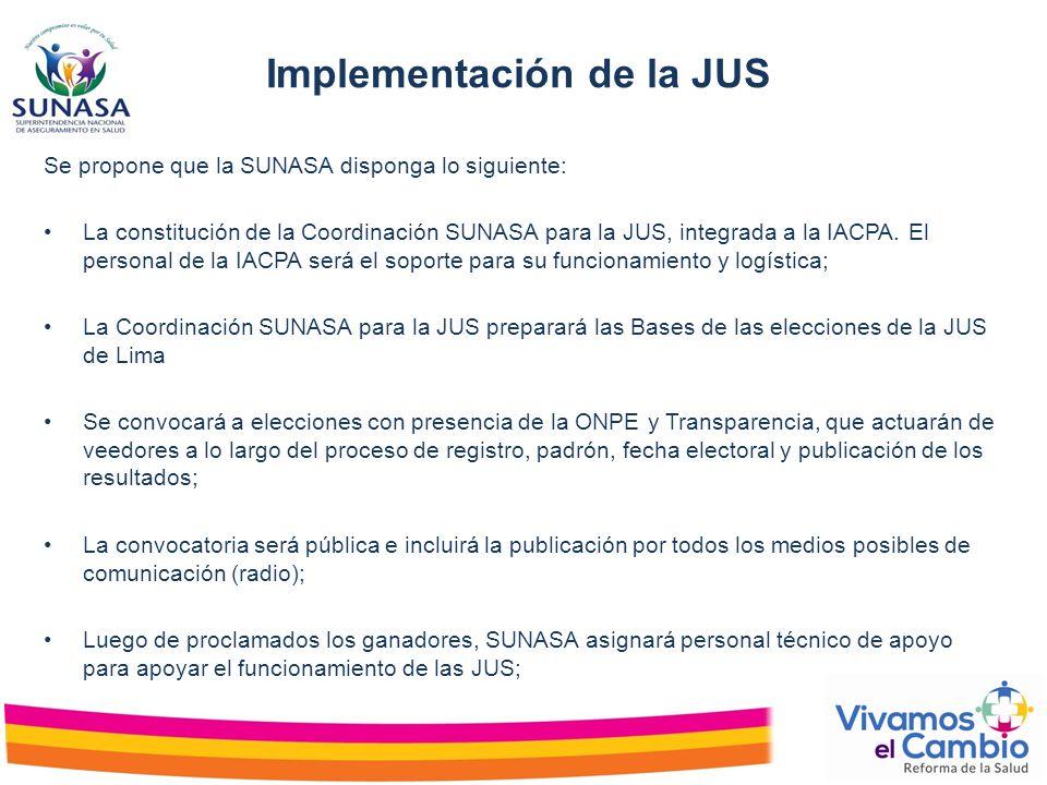 Implementación de la JUS