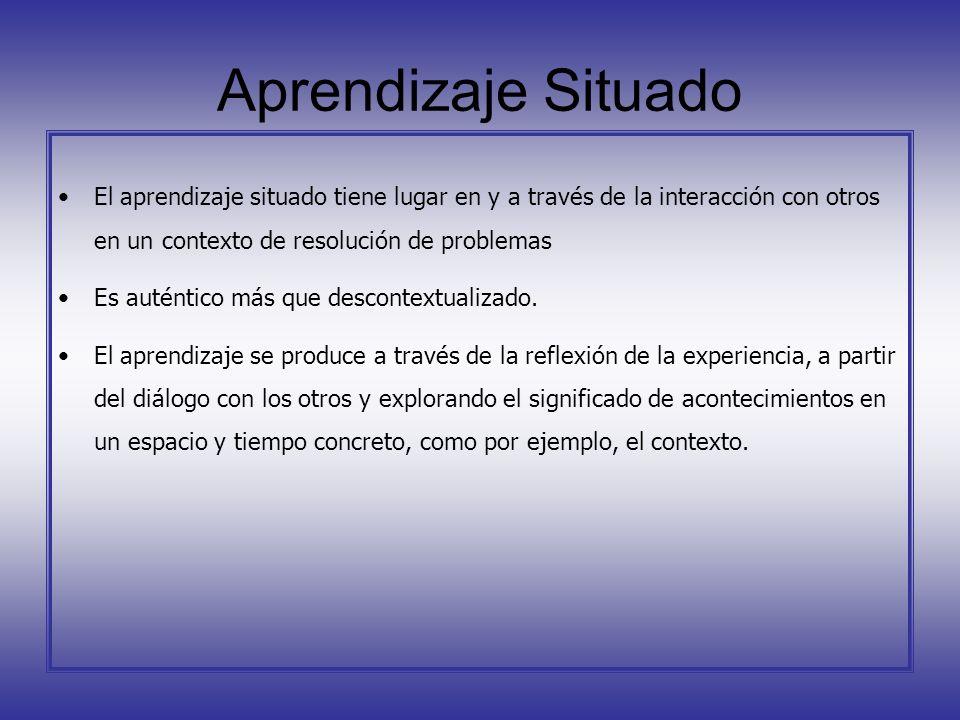 Aprendizaje SituadoEl aprendizaje situado tiene lugar en y a través de la interacción con otros en un contexto de resolución de problemas.