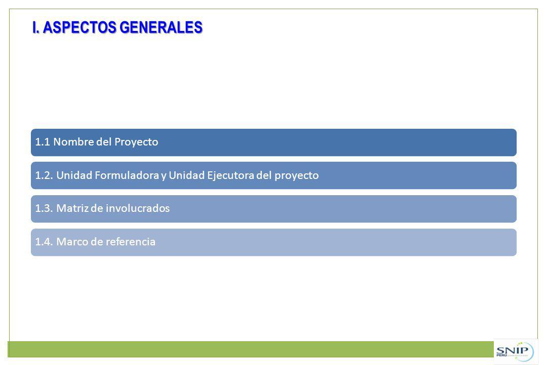 I. ASPECTOS GENERALES 1.1 Nombre del Proyecto