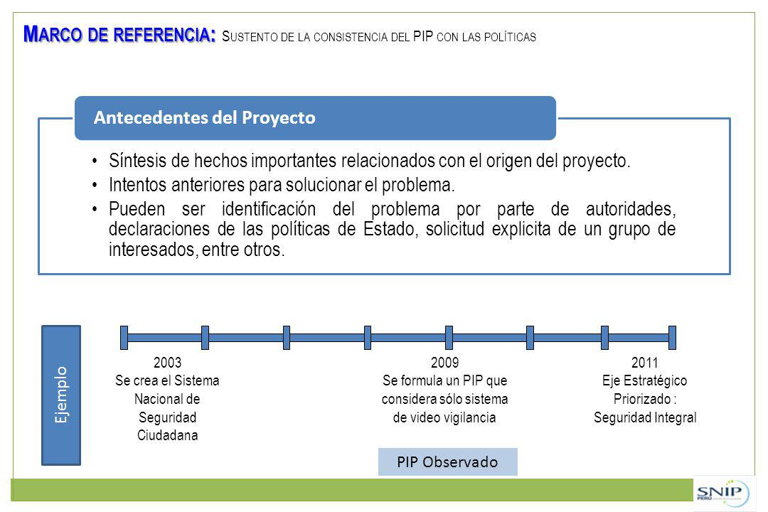 Marco de referencia: Sustento de la consistencia del PIP con las políticas