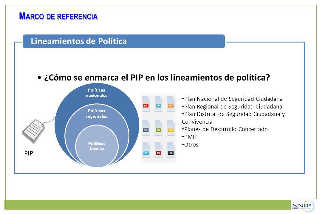 ¿Cómo se enmarca el PIP en los lineamientos de política