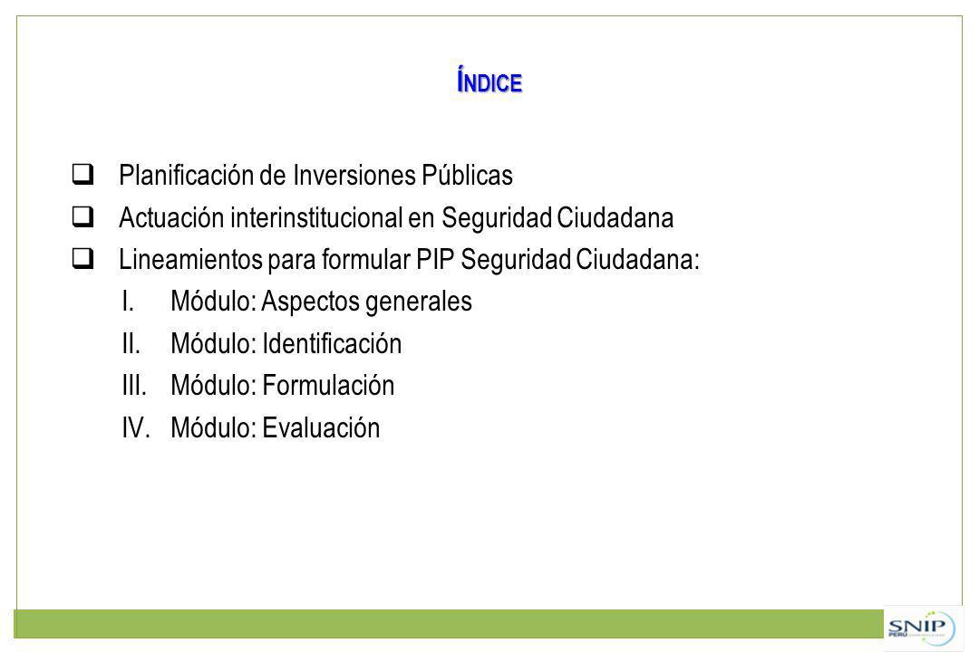 Índice Planificación de Inversiones Públicas. Actuación interinstitucional en Seguridad Ciudadana.