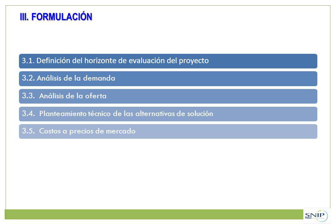 III. FORMULACIÓN 3.1. Definición del horizonte de evaluación del proyecto. 3.2. Análisis de la demanda.