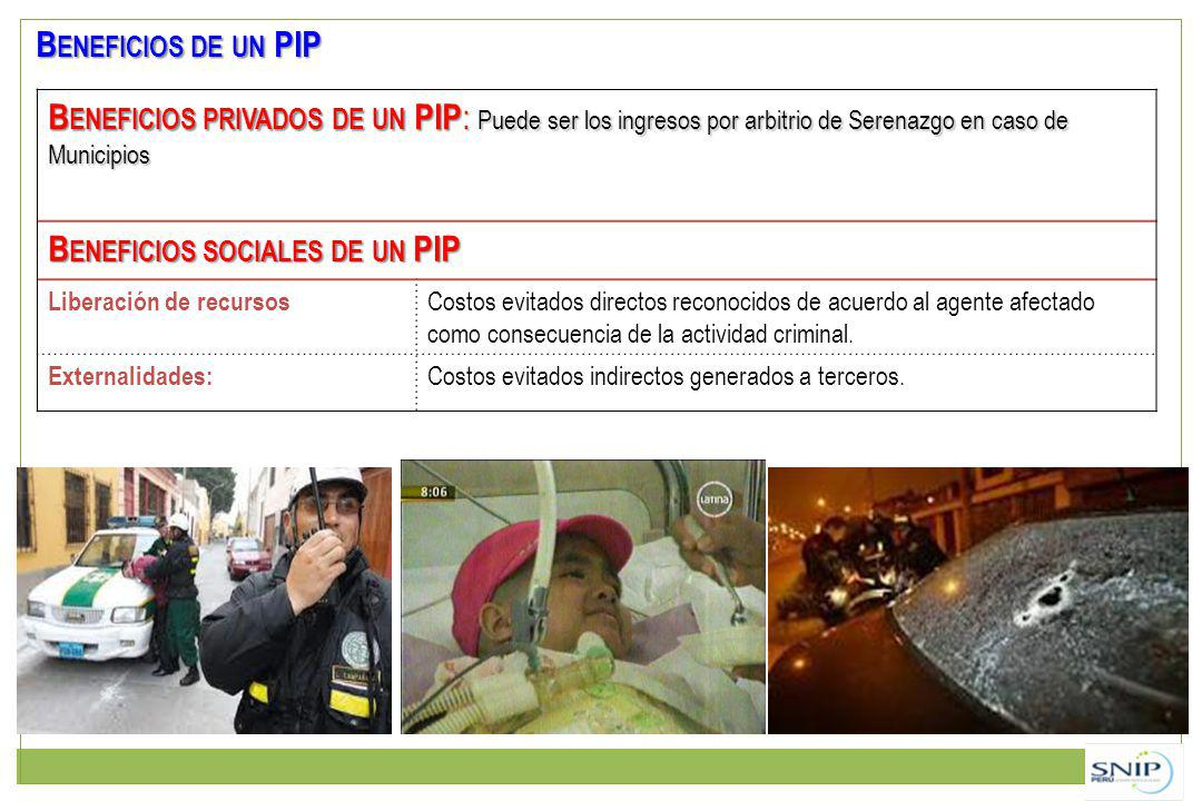 Beneficios sociales de un PIP