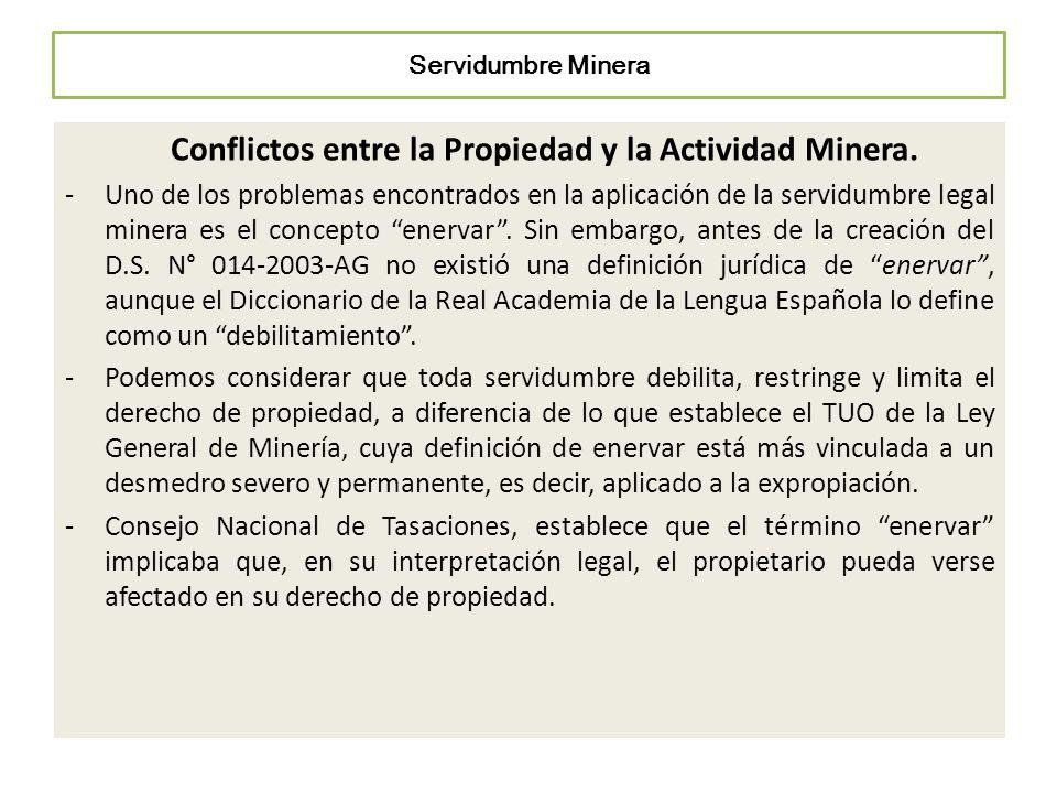 Conflictos entre la Propiedad y la Actividad Minera.