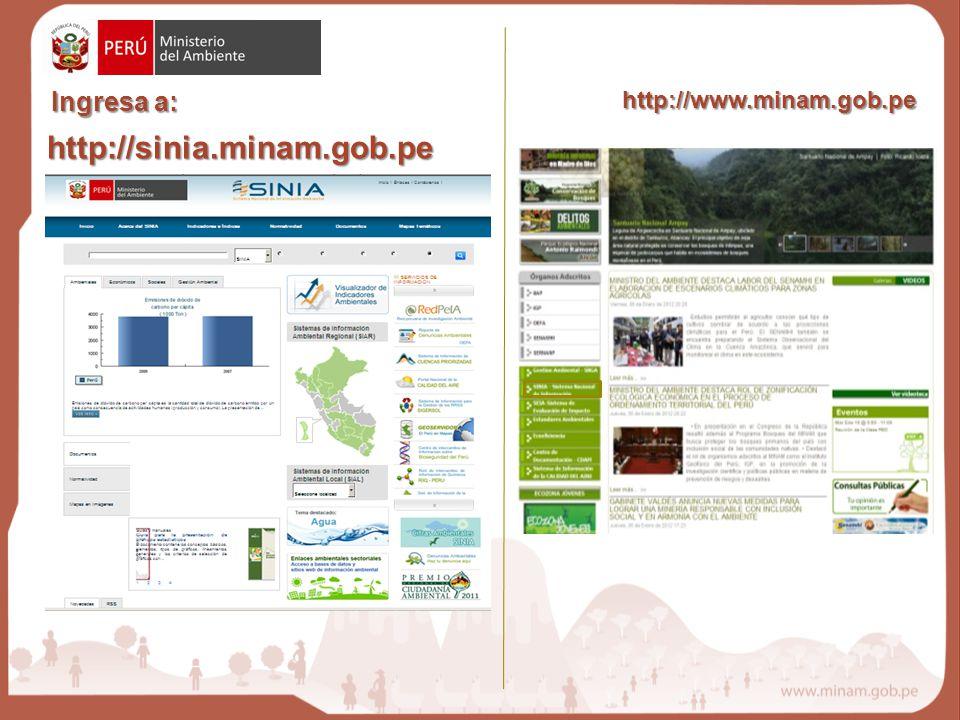 http://sinia.minam.gob.pe Ingresa a: http://www.minam.gob.pe