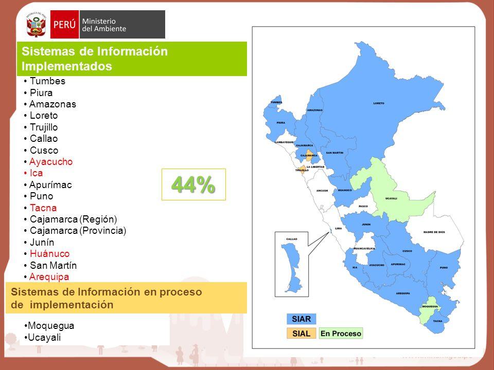 44% Sistemas de Información Implementados