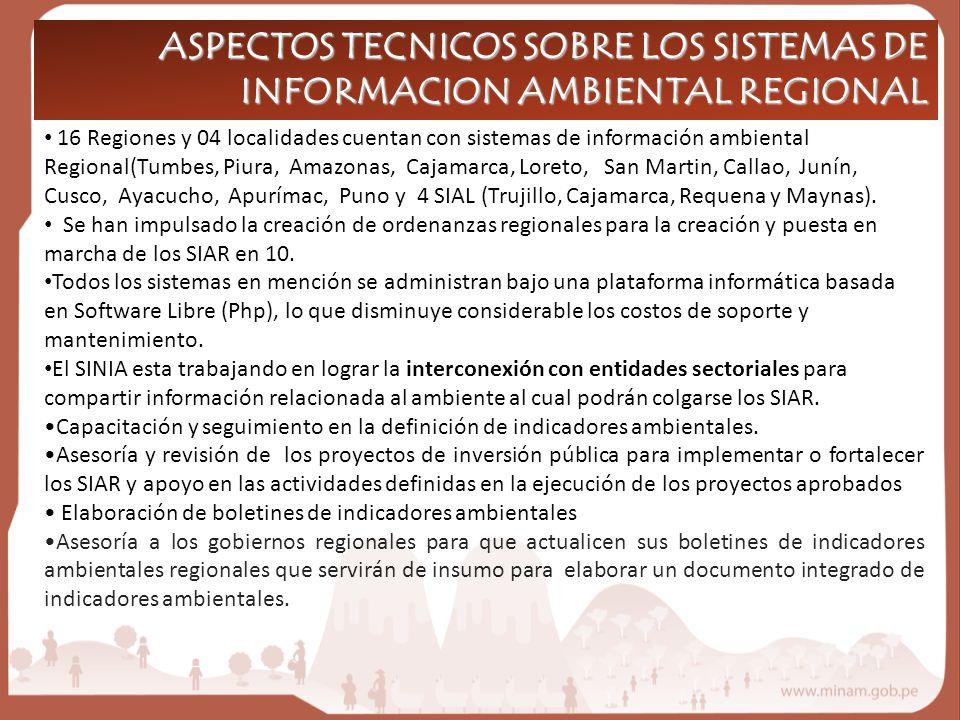 ASPECTOS TECNICOS SOBRE LOS SISTEMAS DE INFORMACION AMBIENTAL REGIONAL