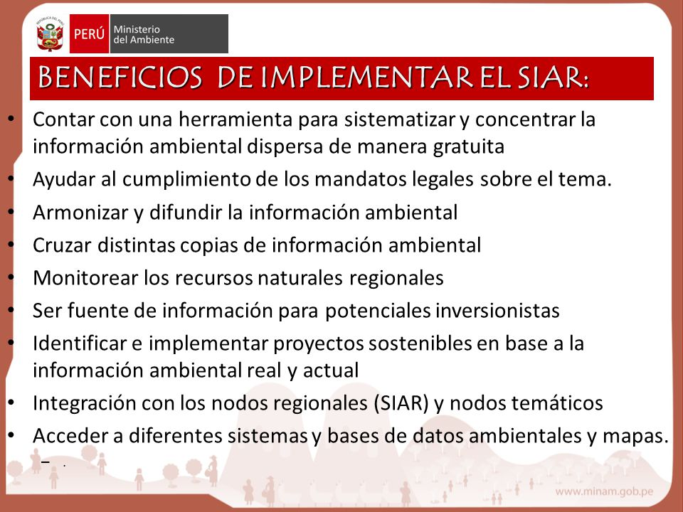 BENEFICIOS DE IMPLEMENTAR EL SIAR: