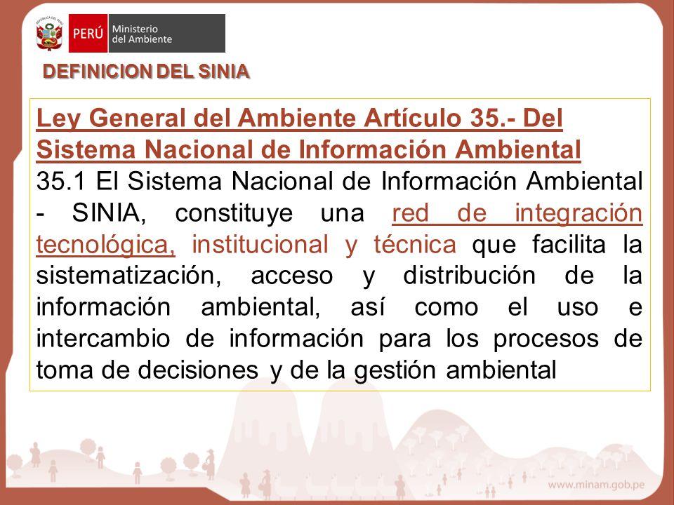 DEFINICION DEL SINIA Ley General del Ambiente Artículo 35.- Del Sistema Nacional de Información Ambiental.