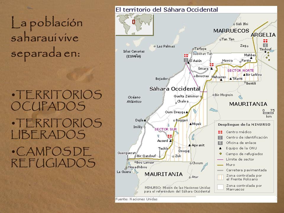 La población saharaui vive separada en: