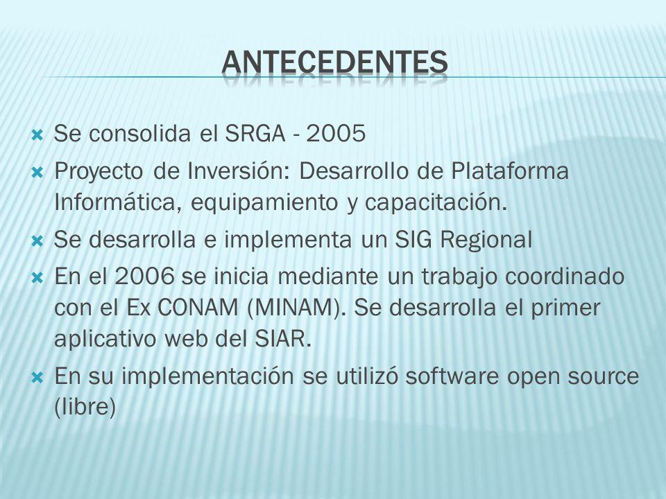 Antecedentes Se consolida el SRGA - 2005