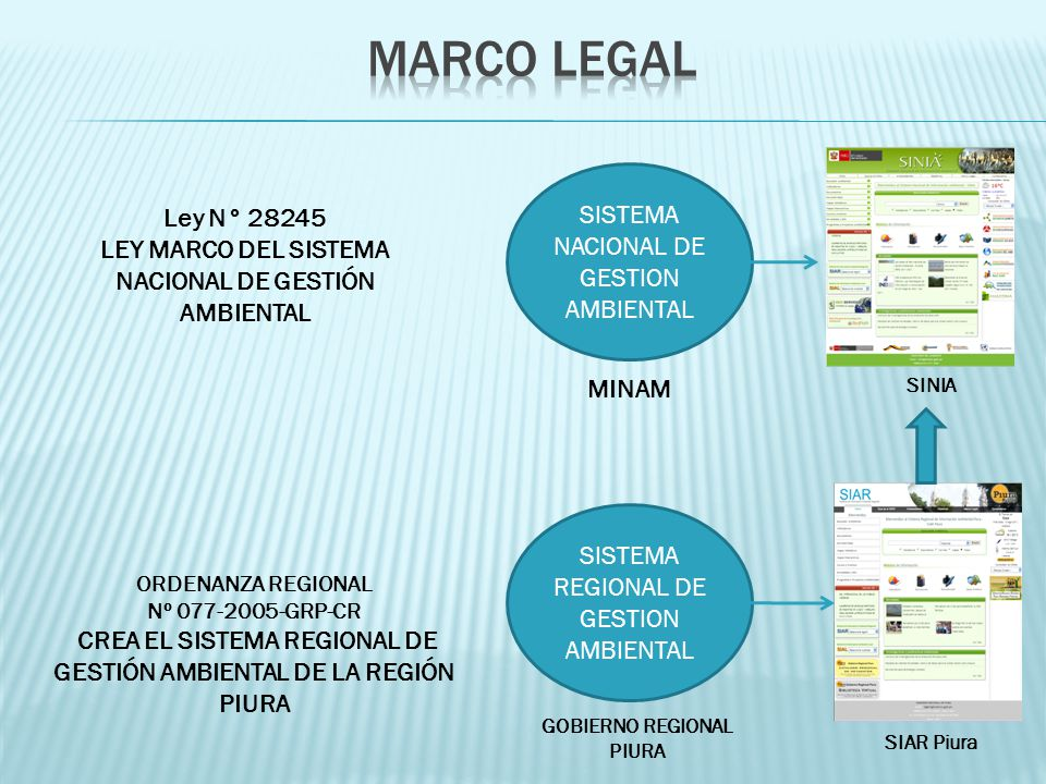 MARCO LEGAL SISTEMA NACIONAL DE GESTION AMBIENTAL Ley N° 28245