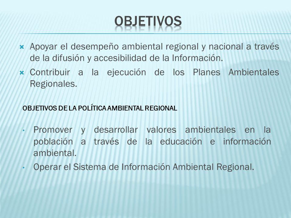 OBJETIVOS Apoyar el desempeño ambiental regional y nacional a través de la difusión y accesibilidad de la Información.