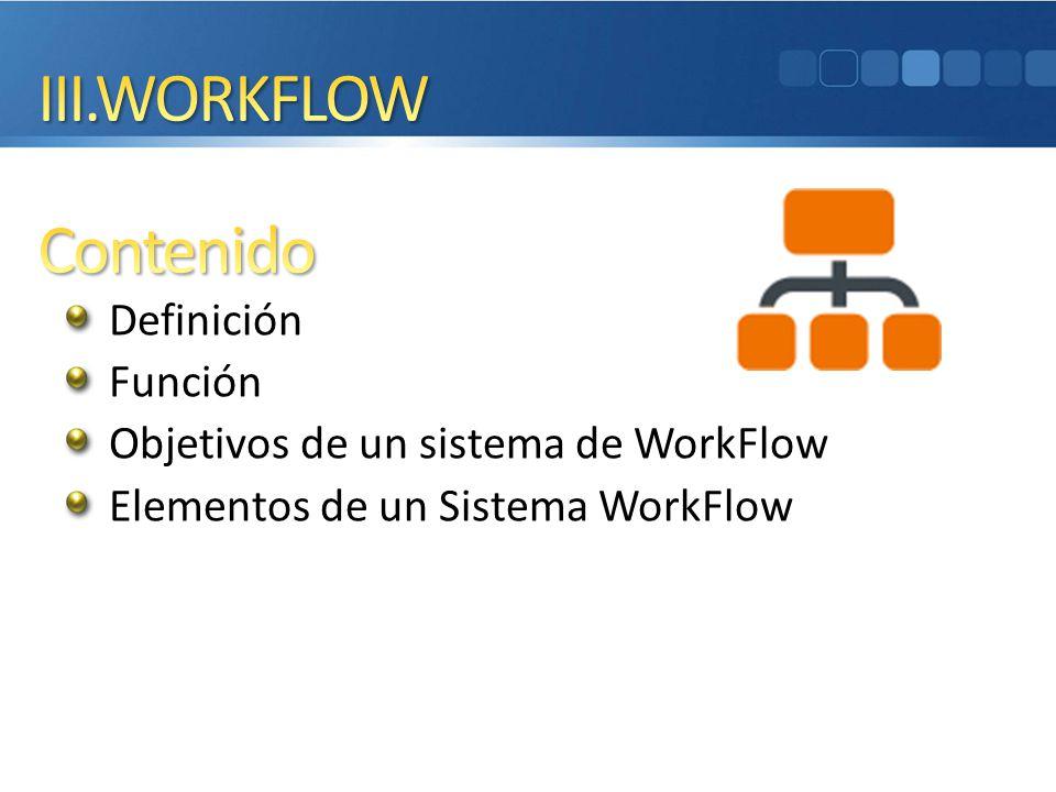III.WORKFLOW Contenido