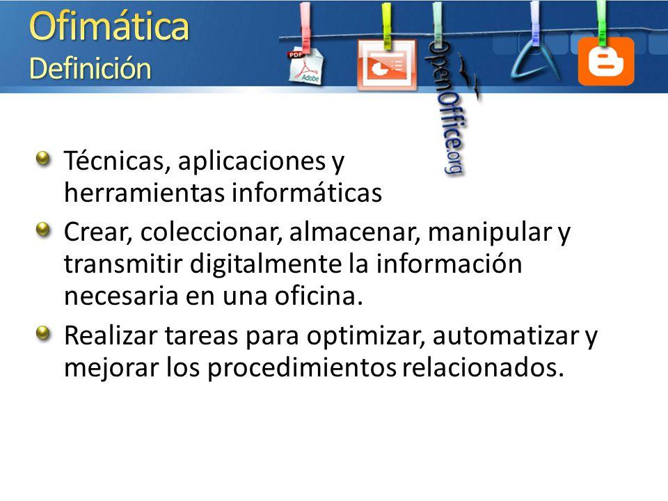 Ofimática Definición 4/1/2017 12:34 PM. Técnicas, aplicaciones y herramientas informáticas.