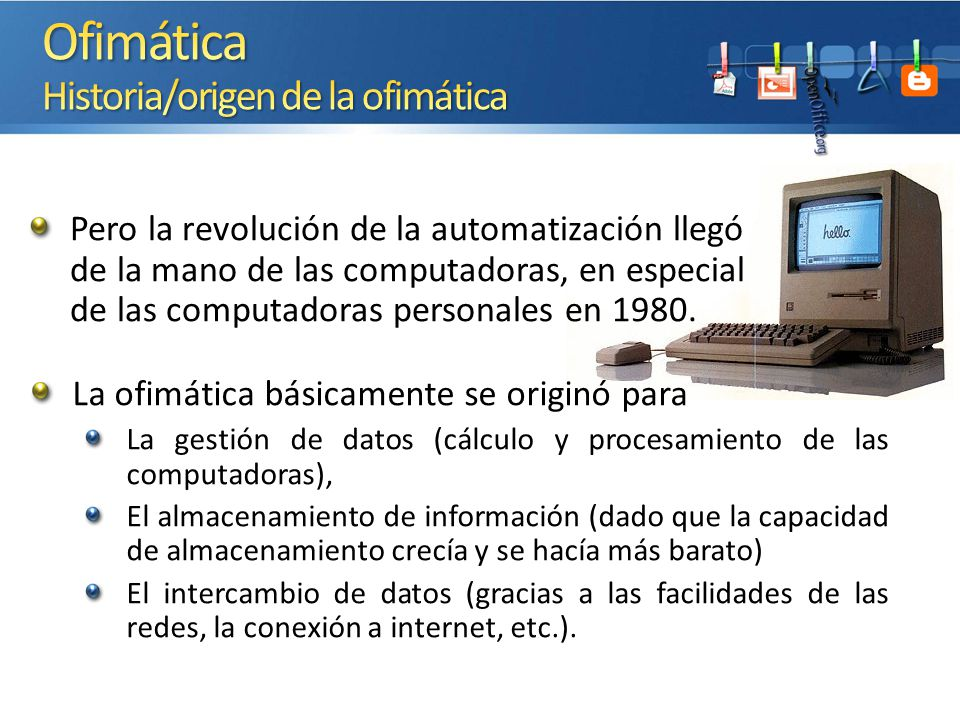 Ofimática Historia/origen de la ofimática