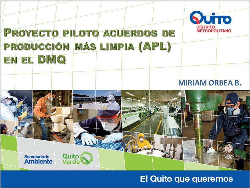 Proyecto piloto acuerdos de producción más limpia (APL) en el DMQ