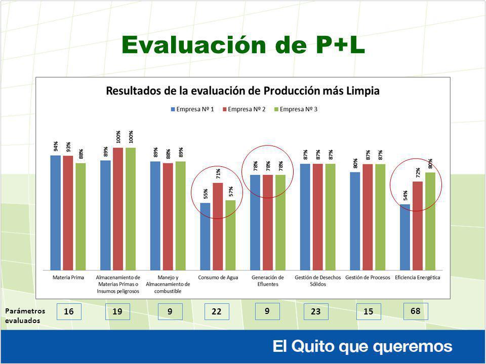 Evaluación de P+L Parámetros evaluados 16 19 9 22 9 23 15 68