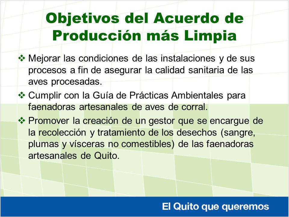 Objetivos del Acuerdo de Producción más Limpia