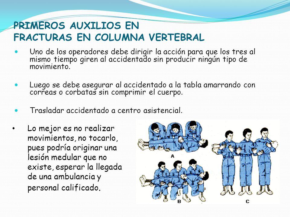 PRIMEROS AUXILIOS EN FRACTURAS EN COLUMNA VERTEBRAL