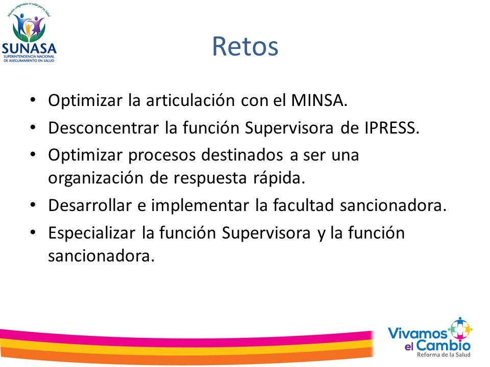 Retos Optimizar la articulación con el MINSA.