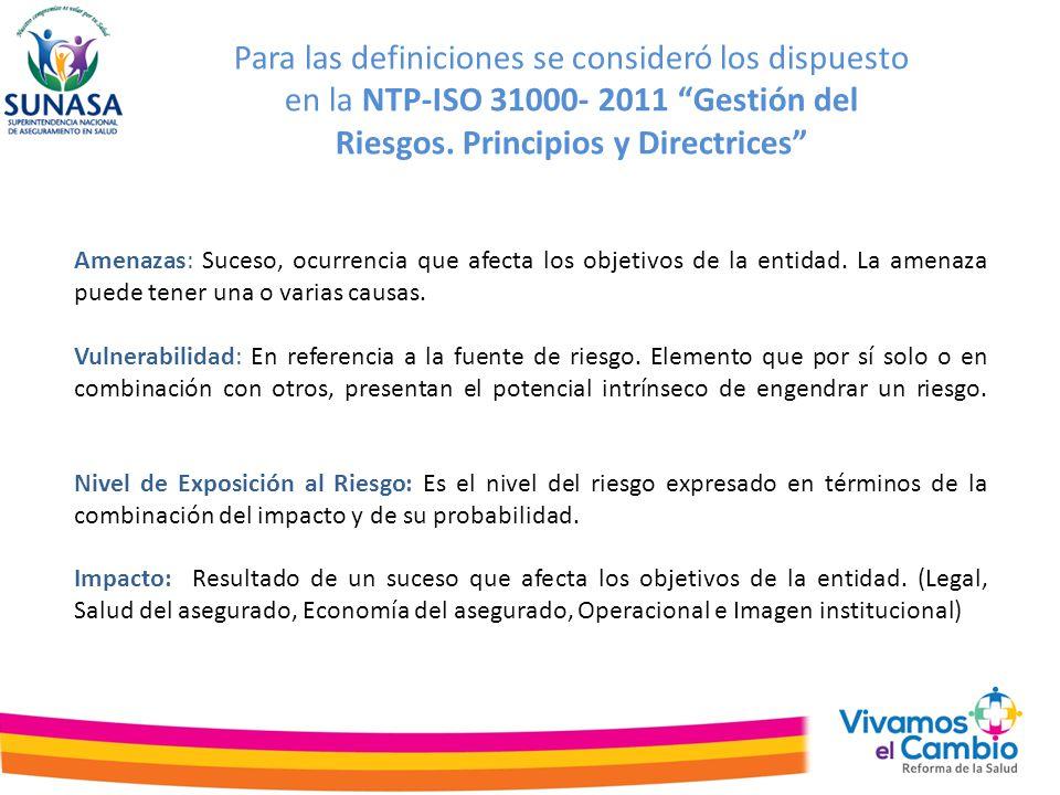 Para las definiciones se consideró los dispuesto en la NTP-ISO 31000- 2011 Gestión del Riesgos. Principios y Directrices